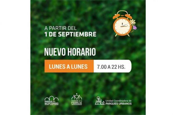 Nuevo horario de los Parques Urbanos a partir del 1 de septiembre