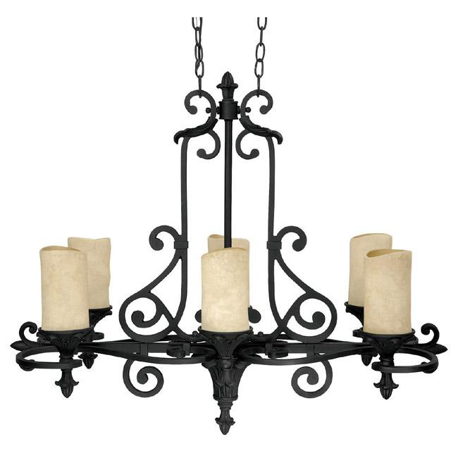 Six Light Wrought Iron Candle Chandelier
