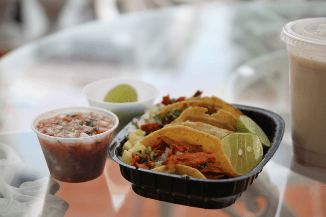 Tacos al pastor and horchata