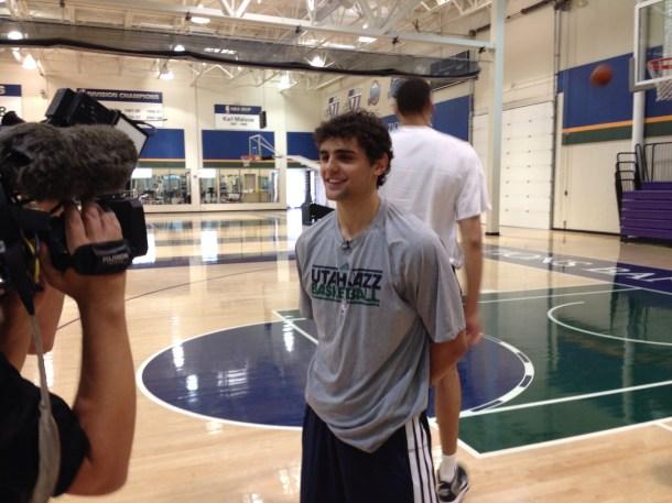 Raulzinho talks to the media