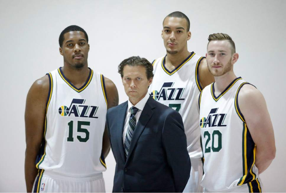 Head coach Quin Snyder has relied heavily on the impressive trio of Derrick Favors, Rudy Gobert and Gordon Hayward. (AP Photo/Rick Bowmer)