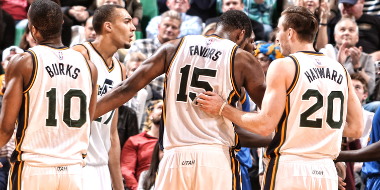 How long into the new season will it take before all four of Alec Burks, Rudy Gobert, Derrick Favors, and Gordon Hayward are on-court for the Jazz? [Melissa Majchrzak NBAE/Getty Images]