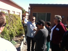 Mr. Kriss giving our visitors a garden tour.