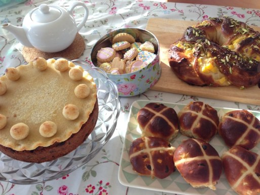Easter tea, simnel cake, buns, biscuits, brioche
