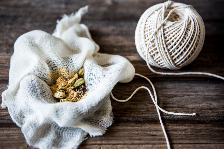 Use cheese cloth and string to make a spice bundle