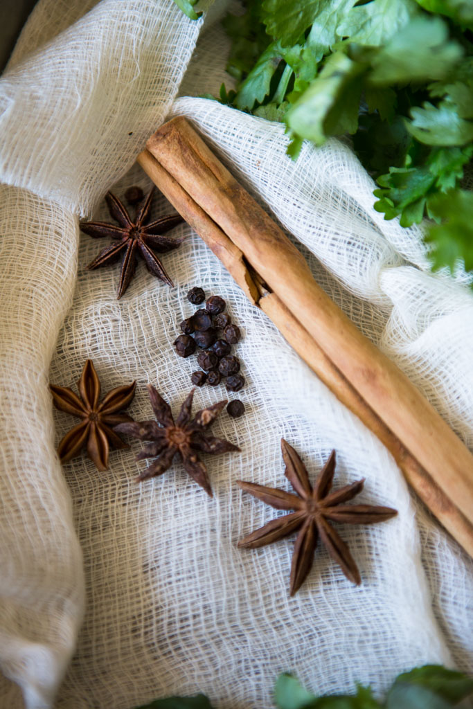 Cinnamon, star anise and peppercorns cooked in the stock of pho soup give it its unique, aromatic flavor.