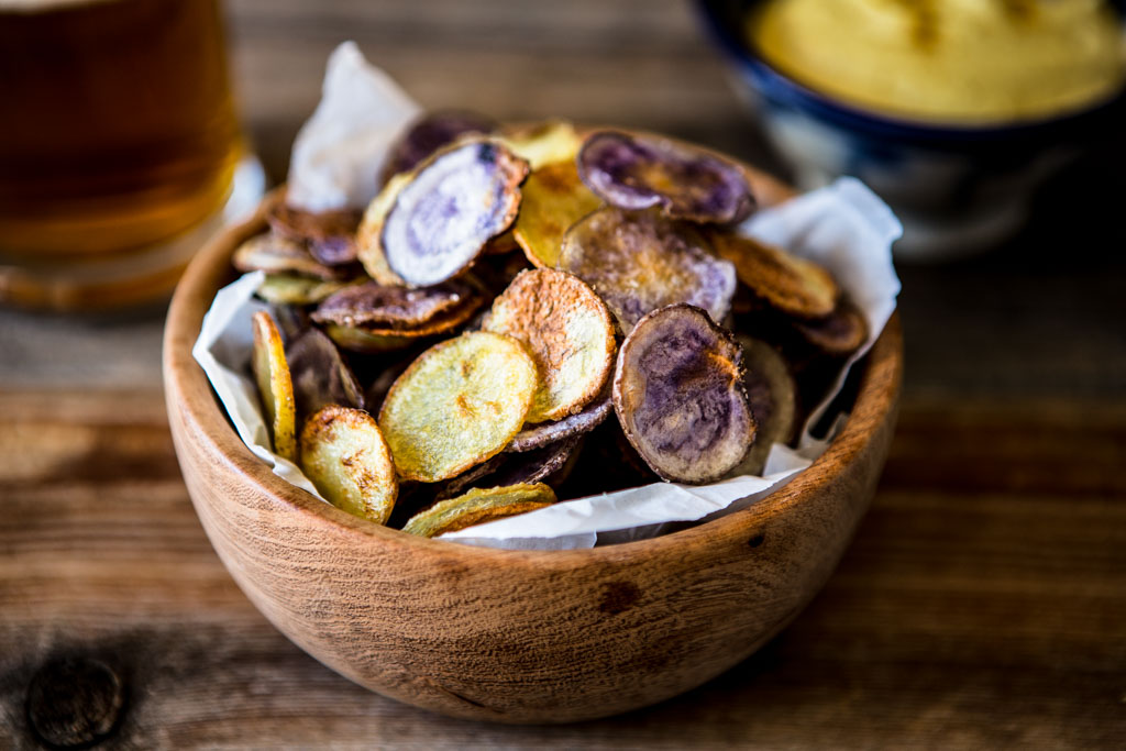 Whole30 compatible crispy oven-baked potato chips.