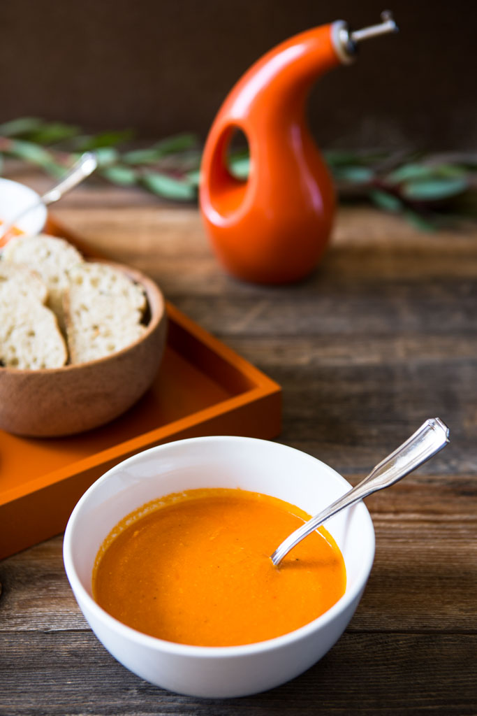 Roasting the tomatoes makes the soup rich and creamy, even without cream.