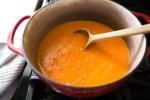 Tomato soup simmering on the stove.