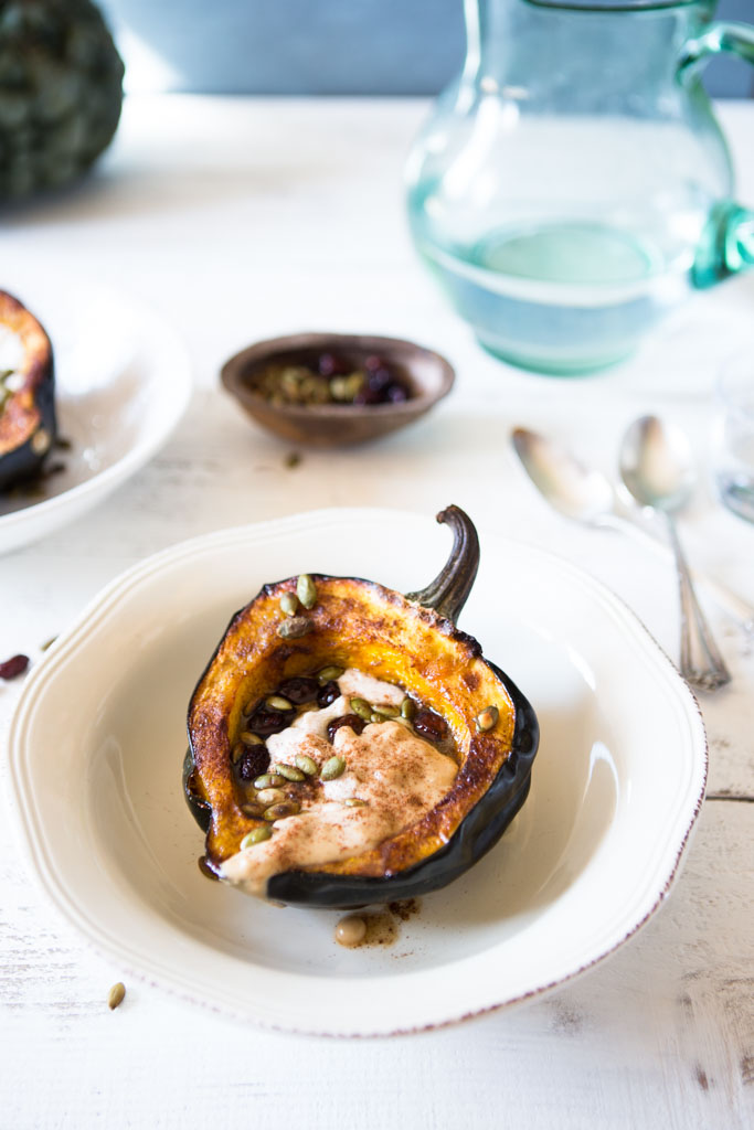 Protein-Packed Acorn Squash Boats - a beautiful, healthy side dish.