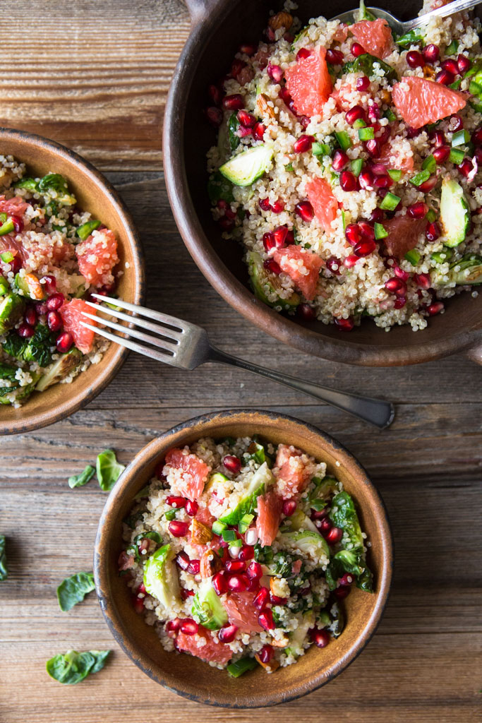 Superfoods Quinoa Pomegranate and Brussels Sprouts Salad - full of nutrients and deliciousness in every bite.