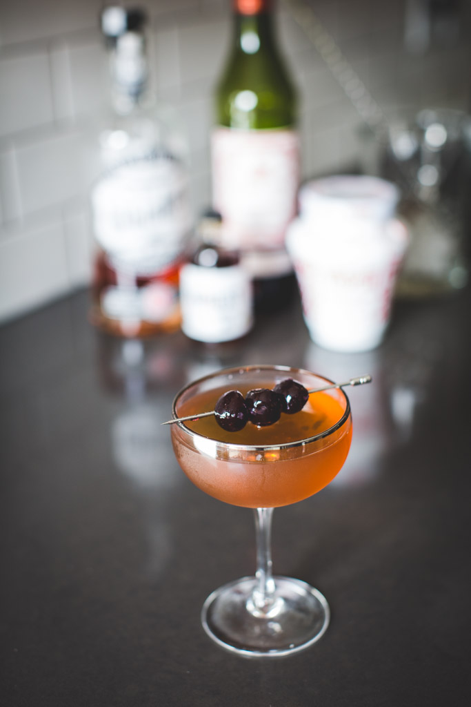 Classic Manhattan with Sugarhouse Distillery Rye Whiskey and Honest John's aromatic bitters.
