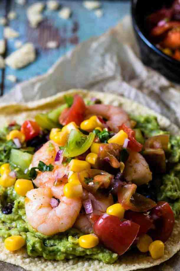 Fiery Prawn and Avocado Tostadas. A Weight Watchers friendly dinner that comes together in 10 minutes. A super simple recipe. | www.saltedmint.com