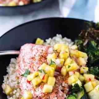 Weight Watchers One Pan Cajun Baked Salmon. www.saltedmint.com