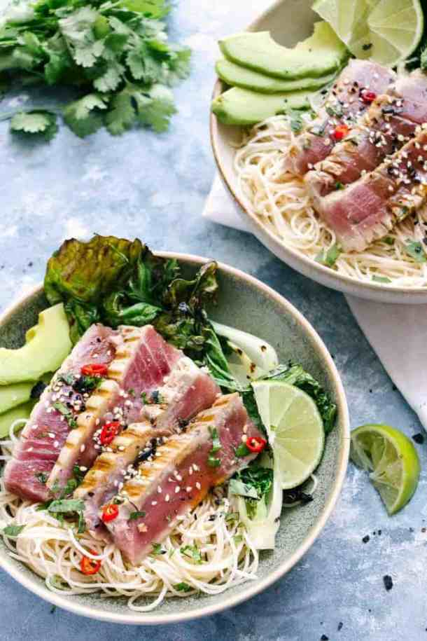 Pan seared asian tuna noodle bowls got all the bright & fresh flavours that happen when we bring together the trifecta of fish sauce, ginger and lime juice.