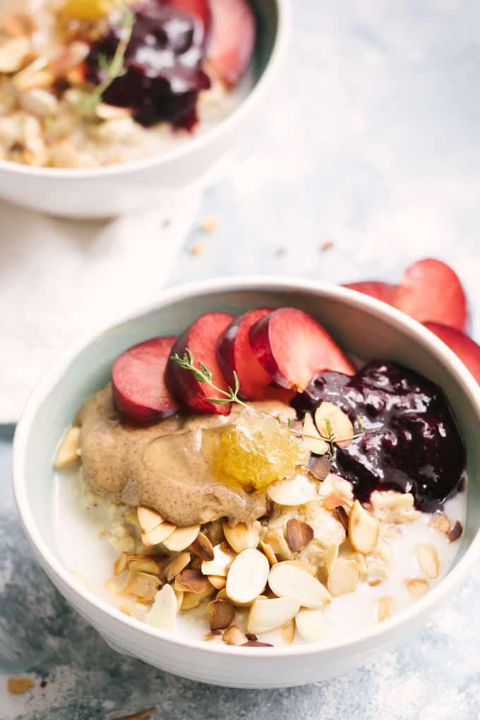 Almond Milk Porridge with Blueberries and Juicy Plums