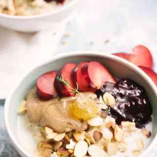 Almond Milk Blueberry Porridge With Juicy Plums