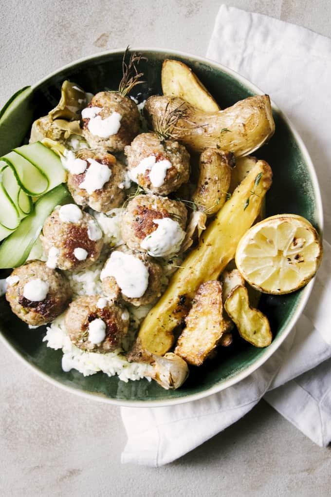 Greek Meatball Souvlaki Bowls