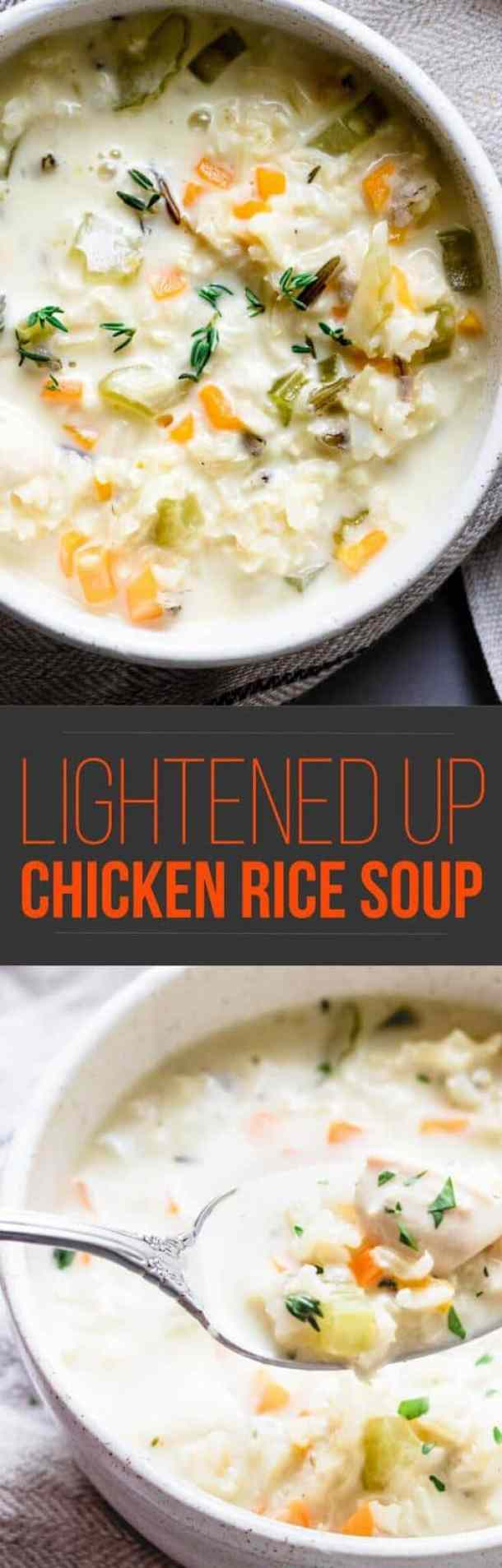 There's no better way to keep the fall wind at bay than to sit down and cozy up with this nourishing and hearty lightened up creamy chicken rice soup. #soup #healthy #dinner #quickfood