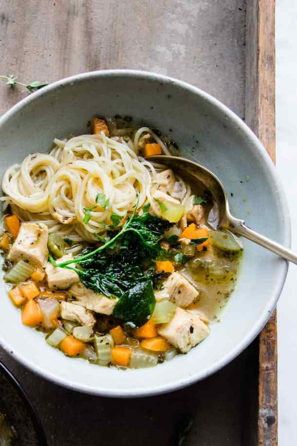 This Italian Turkey and Vegetable Noodle Soup is the perfect way to use up leftover turkey. It's fragrant with traditional Italian herbs, and made into a perfect meal with thin, delicate vermicelli noodles. #soup #turkey #leftovers #noodles