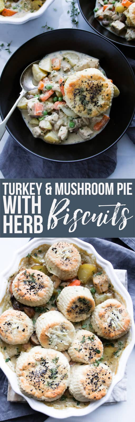 This turkey and mushroom pie with herb biscuit topping is the cosiest way to use up leftover turkey. The simple biscuit topping elevates this pie to a luxurious dinner. Perfect for cosy and casual entertaining. #pie #turkey #chicken #biscuits #turkeypotpie