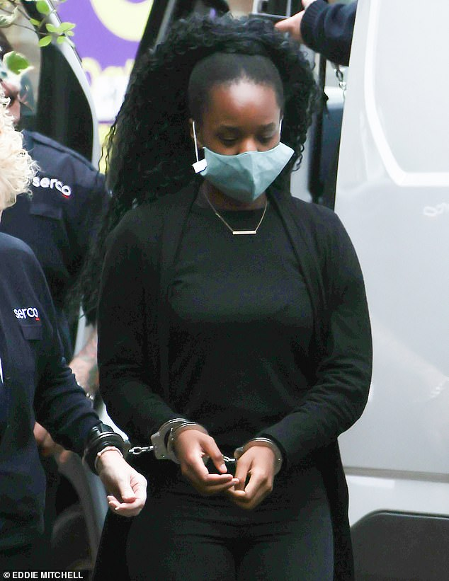 Kudi, 19, had been celebrating her 18th birthday on benders in London, Coventry and Solihull - 150 miles away - and last month pleaded guilty to manslaughter (pictured at Lewes Crown Court)