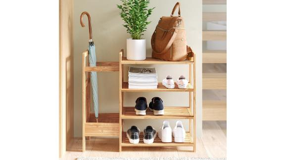 Dotted Line Bamboo Entryway 8-Pair Shoe Rack