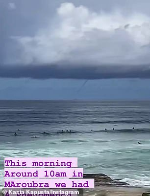 A waterspout was spotted travelling across Maroubra beach on Tuesday morning