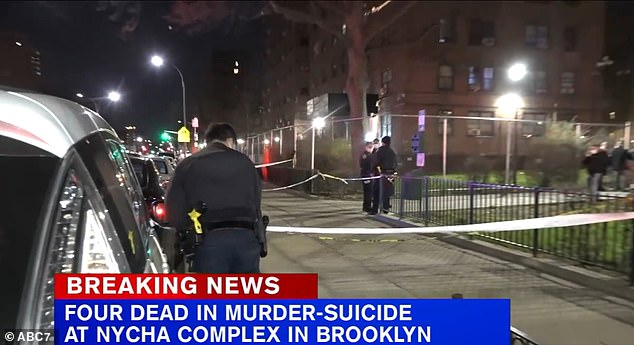A man shot the mother of his child and two of her daughters dead inside the Van Dyke Houses (pictured) in Brooklyn before turning the gun on himself, police said