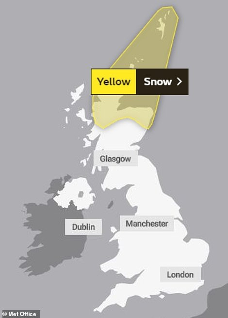 A yellow warning for snow is in place across northern Scotland until 10am today