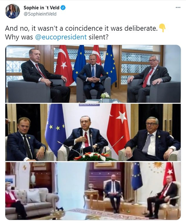 Sophie in 't Veld, a European lawmaker, pointed out that Turkey has previously given chairs to both EU leaders during meetings where all three were male