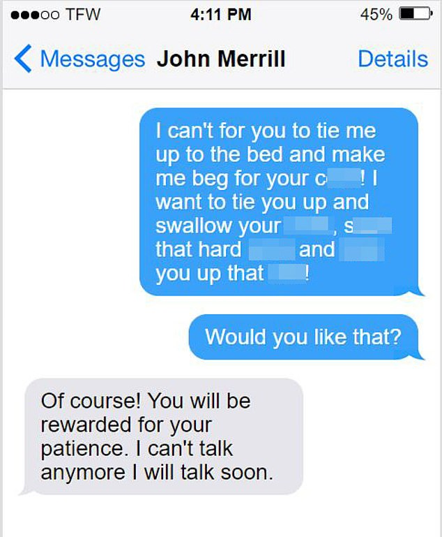 The text messages released by McPherson describe explicit sexual acts involving accessories