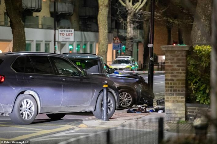 The Ranger Rover had been tailed by two marked police 4x4 cars and an unmarked BMW X5 as it travelled along the Chiswick High Road in west London at about 10.45pm on Wednesday night. Pictured: A car crash involving a Range Rover in London