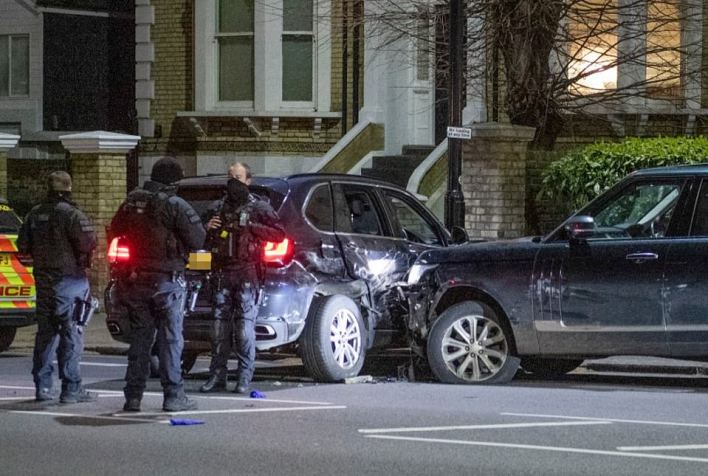 Police attended an accident involving a Range Rover (pictured) in Chiswick yesterday evening. The vehicle is seen with severe damage