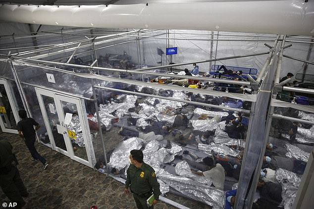 Many of the new arrivals are taken to an overcrowded Border Patrol holding facility — a giant 'tent city' in Donna, Texas. Designed for a capacity of 250, it is stretched far beyond its limits and now holds about 4,000 people, including some 3,300 children. Inside are overcrowded pods with plastic walls and floors covered in a sea of silver foil blankets