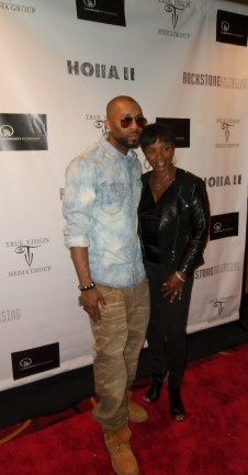 Drumma Boy Fresh and Vanessa Bell Calloway at the Holla II premiere in Atlanta.