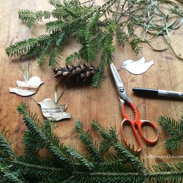 how to make birch bird ornaments
