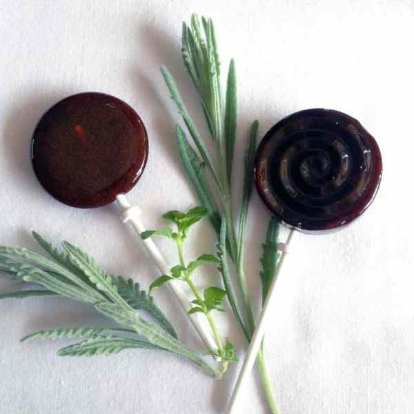 elderberry syrup lollipops with lavender and lemon balm