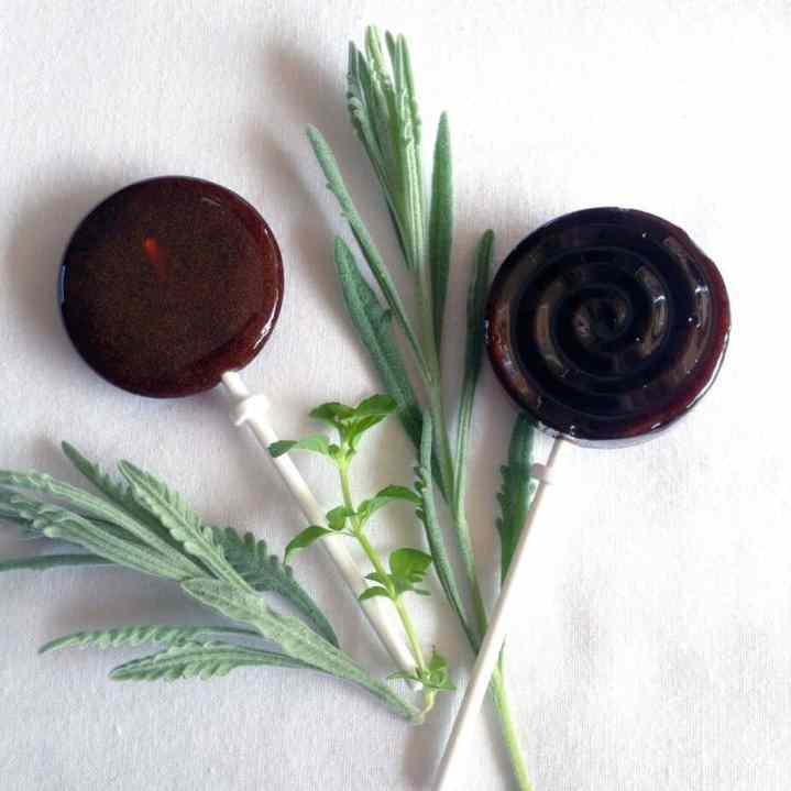 elderberry syrup lollipops with lavender and lemon balm
