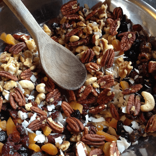 dried fruits and nuts in bowl