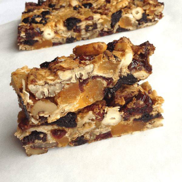stacked paleo dried fruit and nut bars