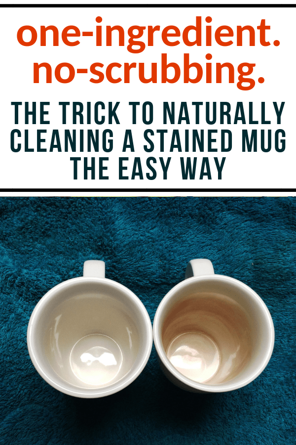 How to naturally clean a stained mug with one ingredient #naturalcleaning #bakingsodahacks