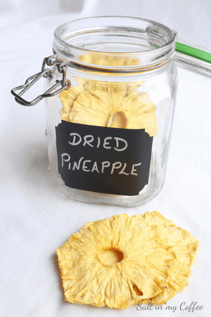 dehydrated pineapple rings in a jar