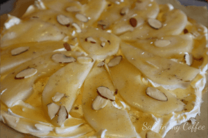 Honey and Almonds on Pear Slices for Pear Galette