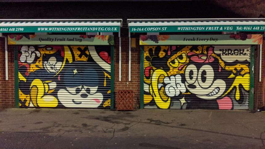 Krek's street artwork on a Fruit and Veg shop in Withington