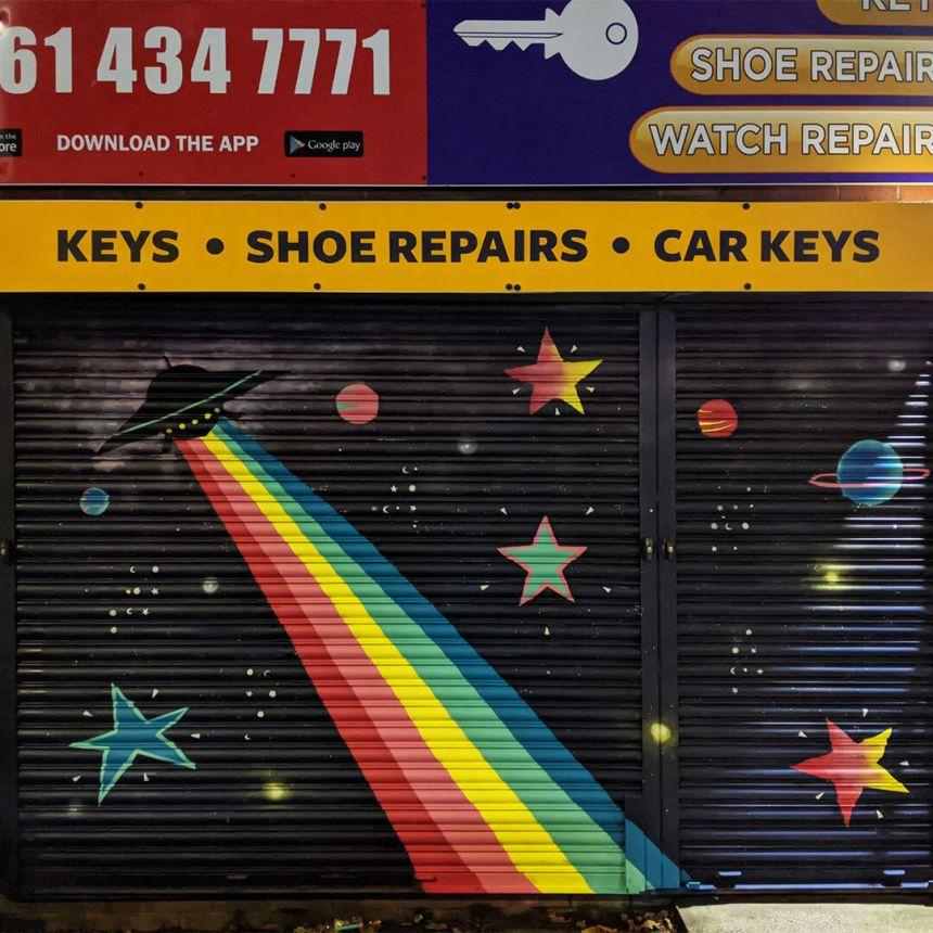 Caroline Daly's street artwork on Copson Street in Withington