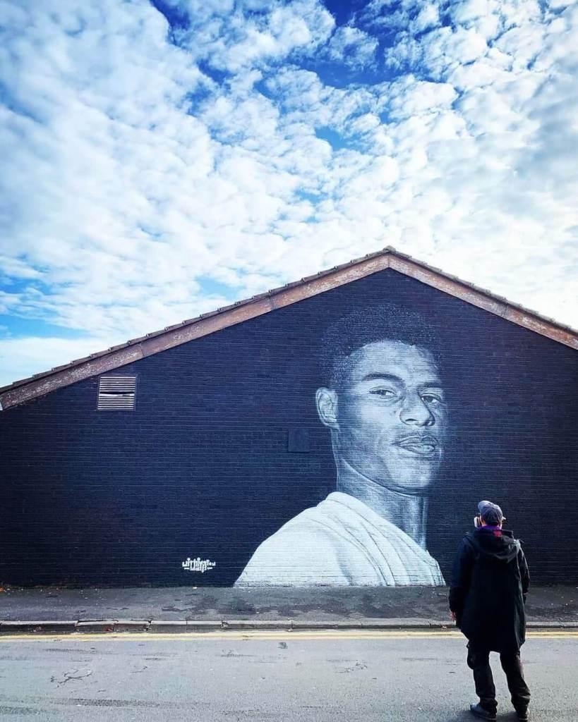 Street art Mural of Marcus Rashford in Withington