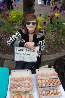 Farm Fresh eggs Jewelery at the Salt Spring Saturday Market