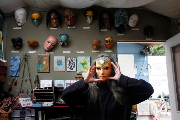 Cerika on Salt Spring Island, masks