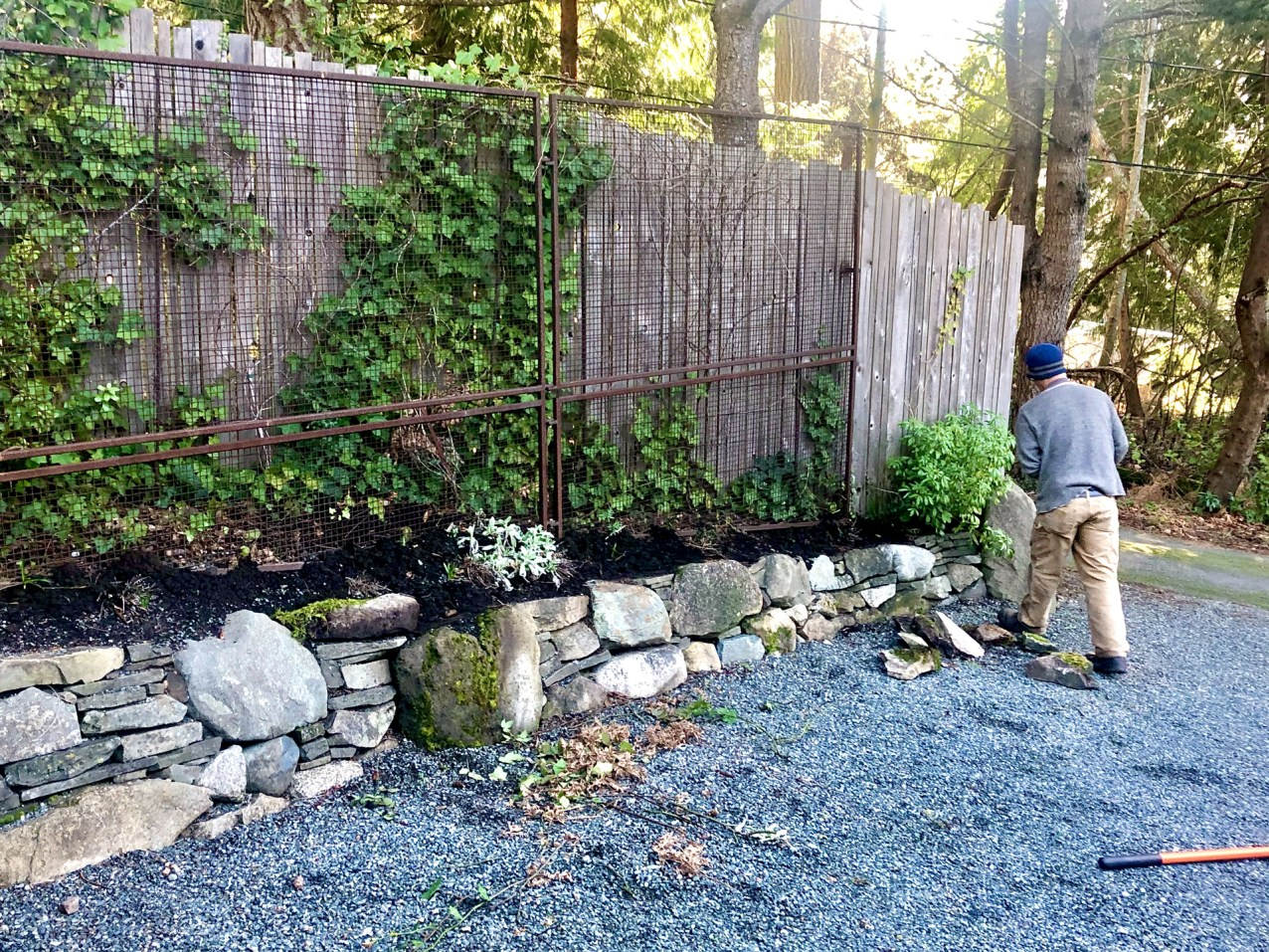rock wall by Salt Spring Gardening Service